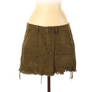 Free People Military Raw Hem Flap  Denim Skirt